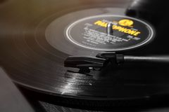 Vinyllp-geel Verslag noir Stock Afbeeldingen