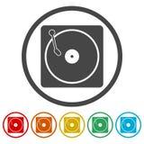 Vinylpictogram, Vector muzikaal plaatpictogram stock illustratie