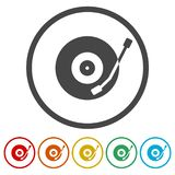Vinylpictogram, Vector muzikaal plaatpictogram stock illustratie