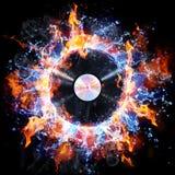 Vinylrekord med brand och vatten Arkivbilder