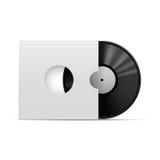 Vinylrekord med packen, mall som isoleras på vit bakgrund Arkivfoton
