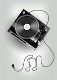 Vinylskivspelare på grå bakgrund, annonsering, vektor Arkivfoto