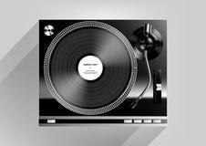 Vinylskivspelare på grå bakgrund och lång skugga, vektor Arkivbilder