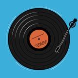 Vinylspelaren som schematically och enkelt visas Ett rekord med musik för ett disko eller en nattklubb arkivbild