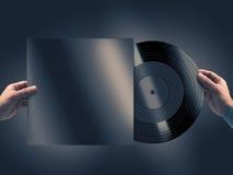 Vinylverslag in handenmodel Stock Afbeeldingen