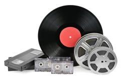 Vinylverslag, video en audiocassettes Royalty-vrije Stock Fotografie