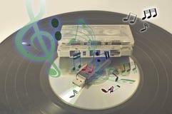 Vinylverslagen en muziek correcte nota Royalty-vrije Stock Foto