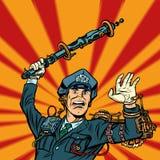 Violência da polícia do Cyberpunk, batida do oficial da BOBINA um bastão ilustração do vetor