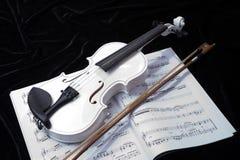 Violín blanco y negro con las notas de la música Imagen de archivo libre de regalías