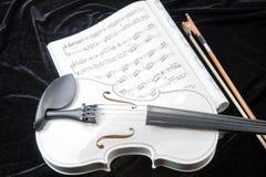 Violín blanco y negro con las notas de la música Fotos de archivo libres de regalías
