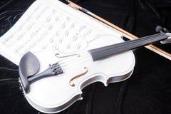 Violín blanco y negro con las notas de la música Imágenes de archivo libres de regalías