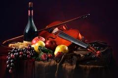 Violín con un arco en un fondo rojo al lado de una botella de vino viejo y de fruta mojada Fotos de archivo libres de regalías