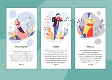 Violín de la dramática de las lecciones del arte y plantillas vocales de las páginas web de las clases libre illustration