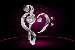 Violín del bastón y del corazón de la nota de la música y clave baja Foto de archivo libre de regalías