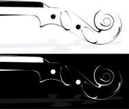 Violín en blanco y en un fondo negro Imagen de archivo libre de regalías