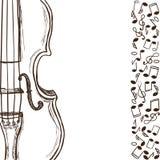 Violín o bajo y notas de la música stock de ilustración
