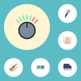 Violín plano de los iconos, teclado de la octava, instrumento musical y otros elementos del vector Sistema de Melody Flat Icons S Imágenes de archivo libres de regalías