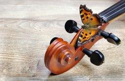 Violín y mariposa Almirante Butterfly Visión superior Copie los espacios fotos de archivo libres de regalías