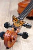 Violín y mariposa en un fondo de madera cuello de un cierre del violín para arriba Concha grande de la mariposa fotos de archivo libres de regalías