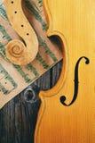 Violín y notas sobre el fondo de madera Fotografía de archivo libre de regalías