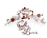 Violín y un café de la taza para un amante del café libre illustration
