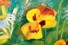 Viola. Tricolor hortensis, flower garden, oil painting on canvas, summer, sunny, picturesque Stock Photography