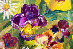Viola. Tricolor hortensis, flower garden, oil painting on canvas, summer, sunny, picturesque Stock Image