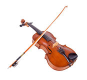 Viola with bow isolated on white background. Instrument for classical music. Fiddlestick lying on the old fiddle Stock Image