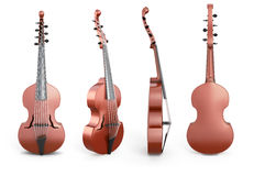 Viola D'Amore from different angles. On white background. 3d illustration Royalty Free Stock Images