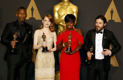 Viola Davis, Casey Affleck, Mahershala Ali och Emma Stone Royaltyfri Bild