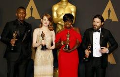 Viola Davis, Casey Affleck, Mahershala Ali y Emma Stone Imagen de archivo libre de regalías