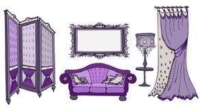 Viola del color de la pantalla del sofá ilustración del vector