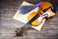 Viola del vintage en partitura Fotos de archivo libres de regalías