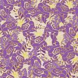 Viola floreale astratta senza cuciture del modello con giallo Per tessuto, carta da parati Immagini Stock