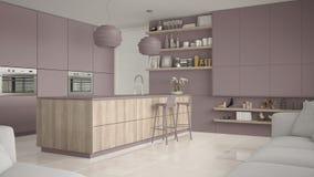 Viola moderna e cucina di legno con gli scaffali e gabinetti, isola con i panchetti Salone contemporaneo, architettura minimalist royalty illustrazione gratis
