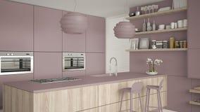 Viola moderna e cucina di legno con gli scaffali e gabinetti, isola con i panchetti Salone contemporaneo, architettura minimalist illustrazione vettoriale
