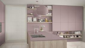 Viola moderna e cucina di legno con gli scaffali e gabinetti, isola con la stufa di gas e lavandino Salone contemporaneo, minimal royalty illustrazione gratis