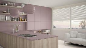Viola moderna e cucina di legno con gli scaffali e gabinetti, sofà e finestra panoramica Salone contemporaneo, minimalista illustrazione di stock
