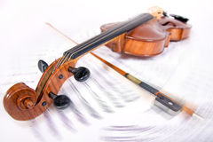Viola on the note record Royalty Free Stock Images