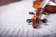Viola on the notes. Viola on the sheets of music Royalty Free Stock Photo