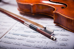 Viola on the sheets of music Stock Photography