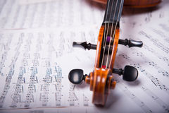 Viola on the sheets of notes Stock Photography