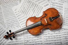 Viola on the sheets of notes Royalty Free Stock Photography