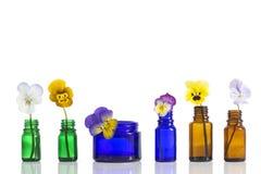 Viola tricolor nice pansies,essential oil in bottle Stock Images