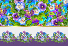 Viola tricolor Spring holiday card. Spring Viola tricolor flowers greeting card, poster. Digital Illustration. Spring Holiday abstract background with tricolor royalty free illustration