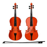 Viola two. Two violin and bow isolated from the background. Vector illustration Royalty Free Stock Image