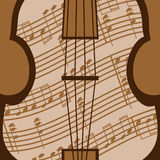 Viola vector. Beautiful viola with music sheet in the brown colour Stock Image