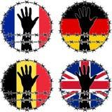 Violação dos direitos humanos em países europeus Foto de Stock Royalty Free