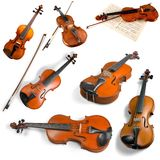 Violas and Violins. Musical Instrument Isolated Wood Music Tuning Peg Curve Royalty Free Stock Image