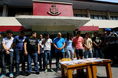 Violate immigration laws. Police arrested Chinese nationals who violate immigration laws in the city of Solo, Central Java, Indonesia Stock Photography